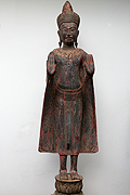 62. Adorned Buddha standing - Post Angkorian style - Wood - Height: 1m52 cm, W:34Kg - USD2300-