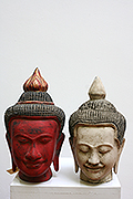 88. Buddha's head - Post Angkorian Style - Wood -  Height 25 cm, W  cm, W: kg - USD 85 -