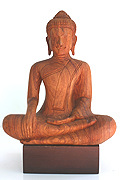 55. Sitting Buddha  - Wood - H:27cm, W:20cm  -  USD75 -