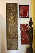 W Bas Relief Buddha in Wood Height,2m05, Width49cm, Depht 3cm USD2200